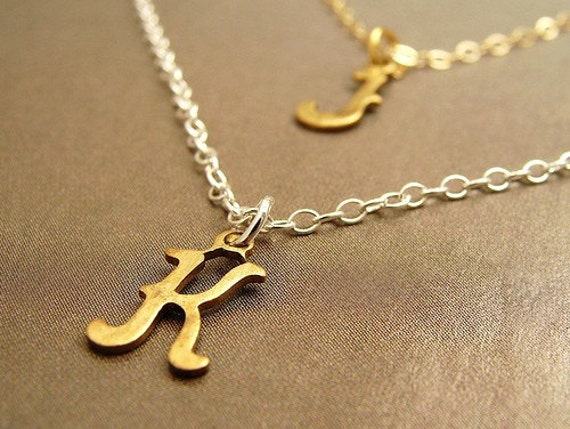 Lucky Duo - custom initial double strands necklace