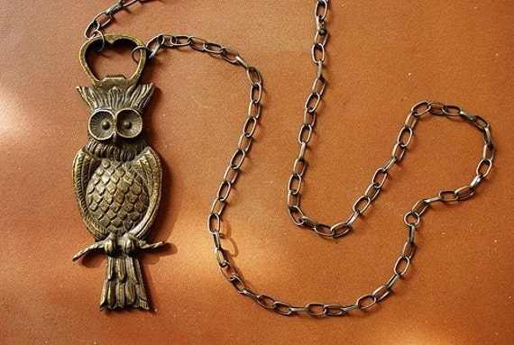 statement necklace Owl Bottle Opener Necklace - bronze owl necklace, bottle opener necklace, long owl statement necklace