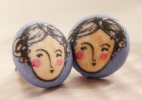 art portrait studs, Gemini earrings, woman girl face portrait studs, artsy illustration Gemini studs