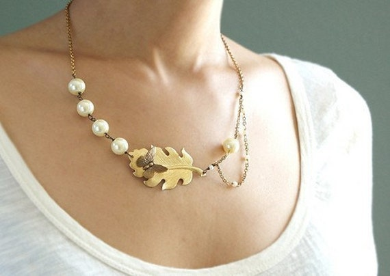 Butterfly Pearl Necklace, gilded leaf pearl necklace, Mad Man vintage style necklace
