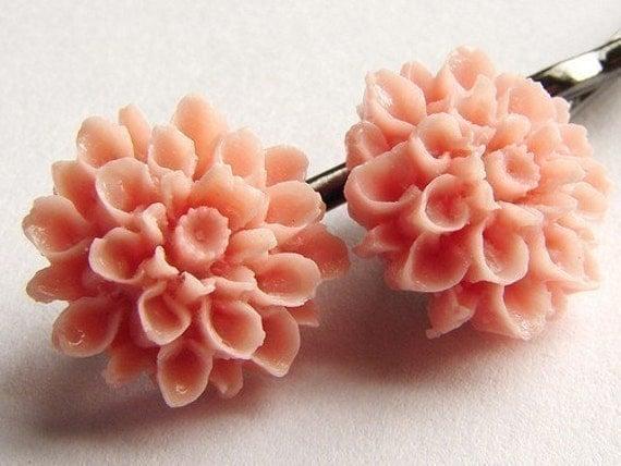 Pink Gardenia Bobby Pins, bridesmaid hair pins, bridal pink flower black metal hair pins, custom color gardenia, bridesmaid gifts