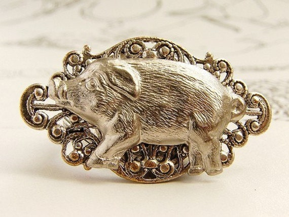 Silver pig ring  Piglet says Hi ring- Cocktail ring antique silver pig ring steampunk pig ring