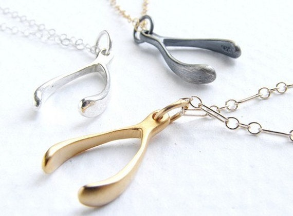 Tiny Wishbone - simple everyday necklace - a great gift