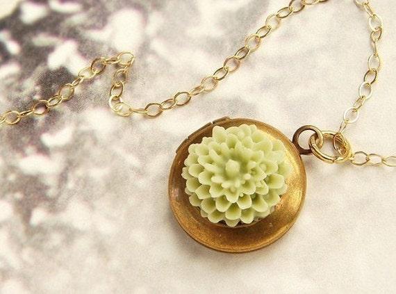 Tiny flower locket Necklace, green tea flower locket charm necklace, moss gardenia locket necklace, 14kt gold filled chain