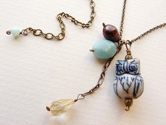Owl Necklace, blue owl necklace, clustered aqua stone citrine pearl necklace, something blue bridesmaid necklace