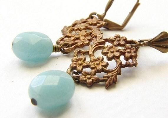 Aqua mint drop earrings, bridesmaid jewelry, vintage inspired Bridal wedding jewelry, seafoam drop earrings Bridesmaid jewelry set