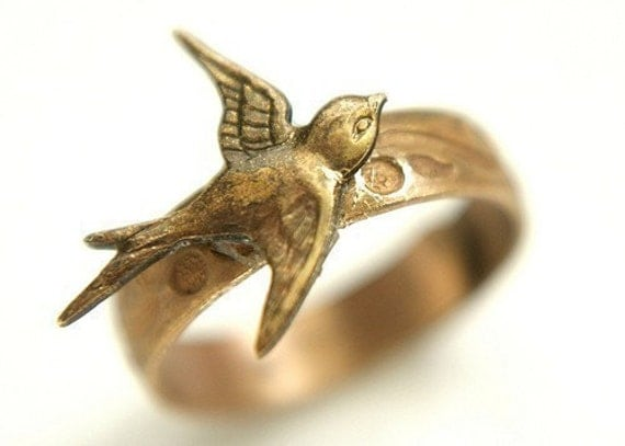 Brass Swallowtail Bird Ring - antique brass bird ring