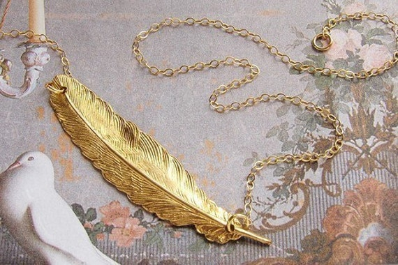 Gold feather necklace, bridesmaid jewelry, Enchanted Feather necklace 14kt gold filled chain wedding party bridesmaid gifts