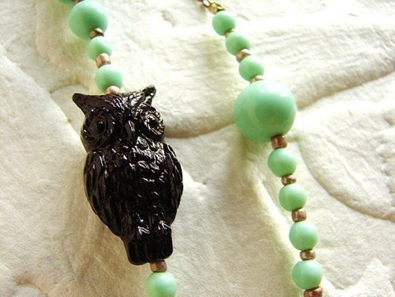 Mint brown Owl necklace, statement necklace, vintage Czech glass beads brown owl necklace mod long owl statement necklace