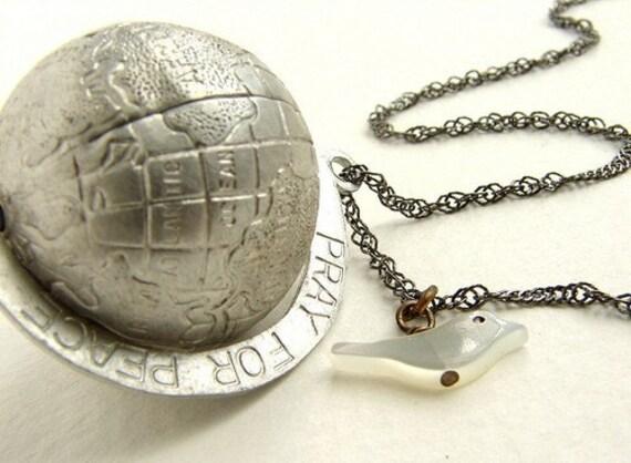 Vintage Globe Necklace, Earth pendant dove charm necklace, Peace Necklace, Vintage globe pendant, World Peace necklace