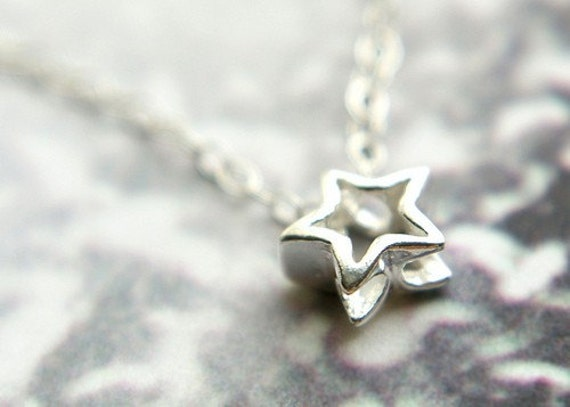 Reserved for Wanda- Tiny star necklace in sterling silver, wishing star necklace - tiny shooting star necklace, simple star necklace
