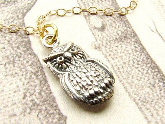 Tiny Owl necklace, sterling silver owl necklace, owl pendant necklace, rustic owl necklace