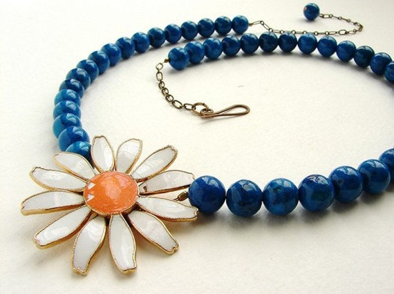 Reserved for Antoinette-  Daisy Sunshine - vintage repurposed one of a kind necklace