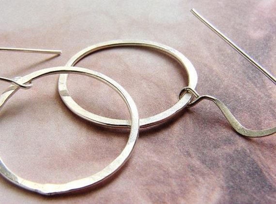 Hoop earrings, hammered hoops, sterling silver hoop earrings - simple everyday hoop earrings