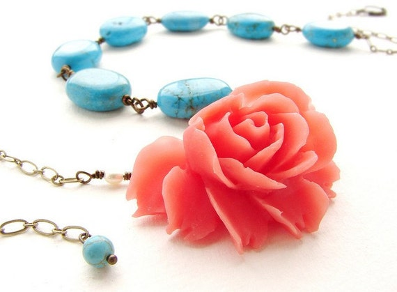 Floral statement necklace, Coral Rose with Turquoise stones necklace, red rose statement necklace