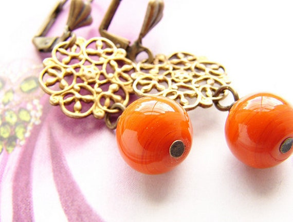 Tangerine glass drop earrings, vintage style earrings, Orange statement jewelry set