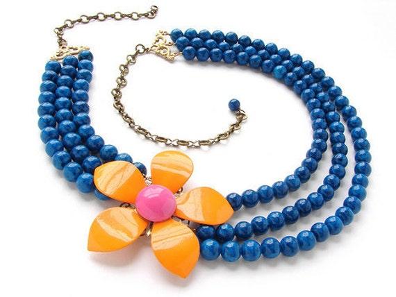 Tangerine Orange Statement jewelry, Vintage OOAK Flower Brooch Necklace, orange Pink, peacock teal necklace, vintage brooch statement