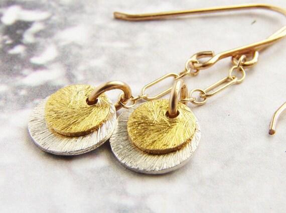 coin drop earrings, gold silver drop earrings mixed metal disc drop earrings, minimal bridal party bridesmaid earrings