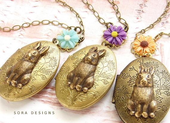 Bunny Locket Necklace, Easter sunday, animal jewelry woodland daisy rabbit locket necklace, bunny hare locket long necklace