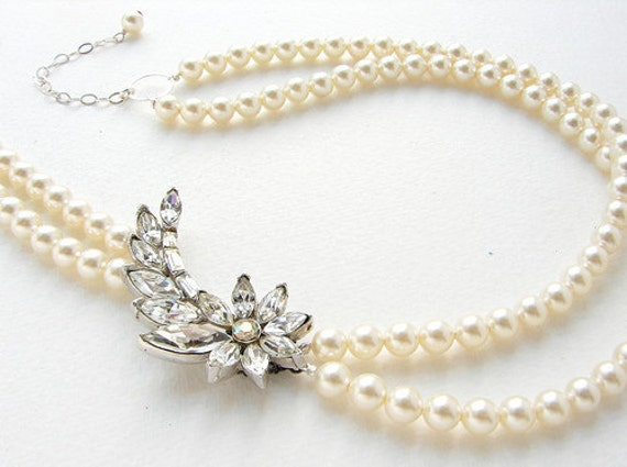 Vintage Rhinestone Necklace, Vintage Brooch Double Strand Pearl Bridal Necklace, OOAK brooch statement necklace