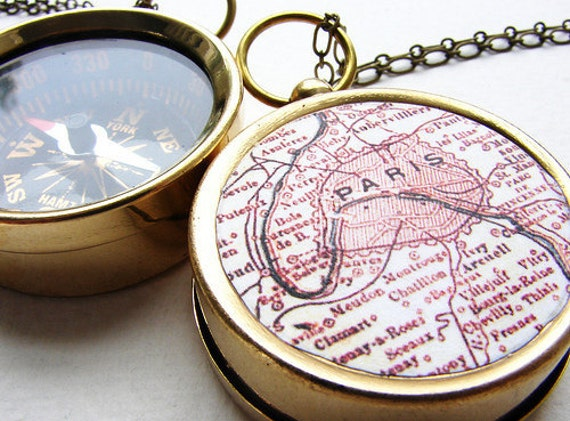 Personalized Map Compass Necklace , custom Paris Map choose your city - personalized anniversary gifts