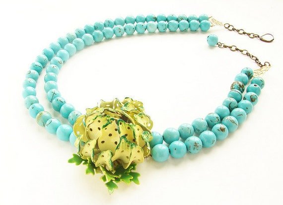 chartreuse flower statement necklace - double strands turquoise, OOAK vintage celery green brooch necklace, yellow green floral jewelry
