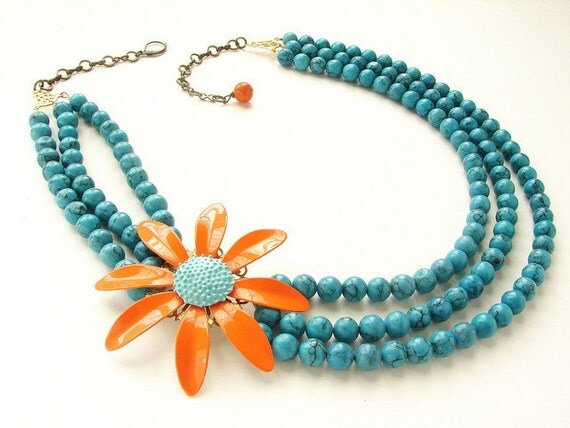 Vintage Tangerine Statement Necklace Enameled Flower Brooch bright orange aqua triple strands turquoise necklace OOAK floral jewelry