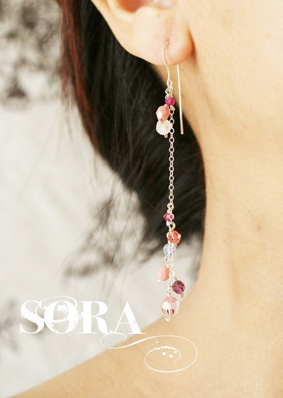 Pink cluster Drop earrings, bridal earrings, bridesmaid jewelry, clustered pink stones, wedding party custom color stones