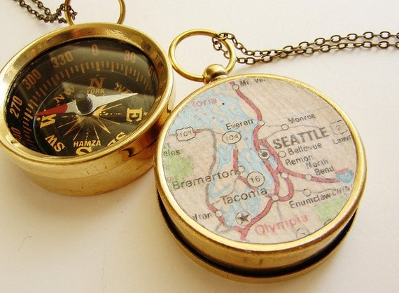 Personalized Map Compass Necklace, Seattle Washington Map, Personalized choose your own city personalized map graduation anniversary gifts