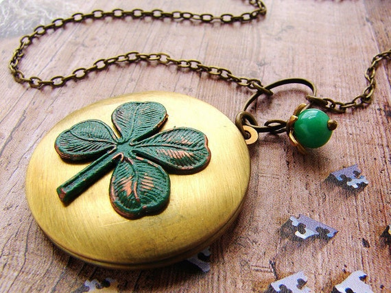 Clover Locket Necklace, shamrock lucky four leaf clover Saint patricks day locket necklace, Shamrock clover necklace