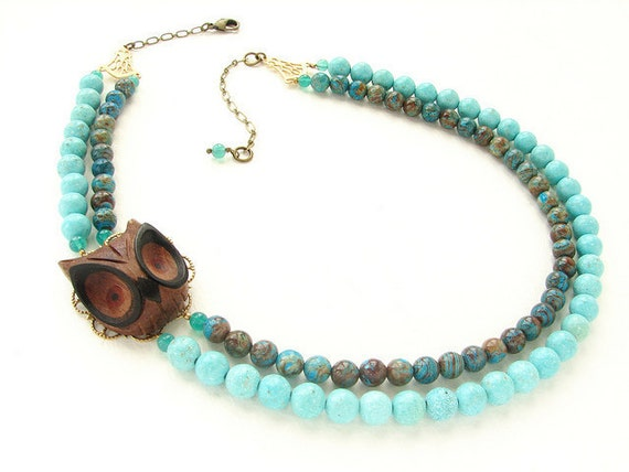 Owl beaded Necklace, beadwork, turquoise statement necklace, wooden owl double strands turquoise brown blue sky jasper, carved woodwork ow
