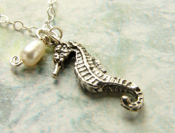 Tiny seahorse necklace, sterling silver seahorse charm freshwater pearl sterling silver chain