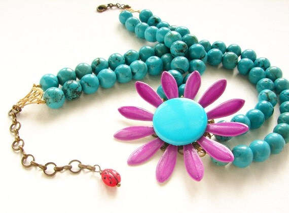 Purple Peacock Statement Necklace, Vintage Floral ladybug brooch turquoise necklace, OOAK bright colorful statement necklace