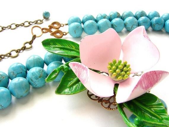 Flower statement necklace, vintage dogwood brooch statement necklace turquoise