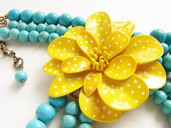 Reserved for Lela- Lemon Yellow statement necklace, Vintage polka dots flower necklace, buttercup turquoise necklace,