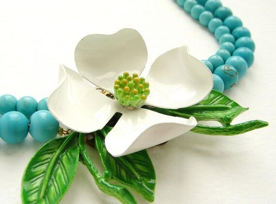 White Flower statement necklace vintage dogwood brooch double strands turquoise, enamel linen white statement necklace