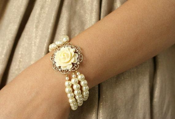 Statement bangle, Bridesmaid jewelry, Wedding jewelry Bridal bracelet, bridal Ivory rose triple strands pearl bracelet, bridal bracelet