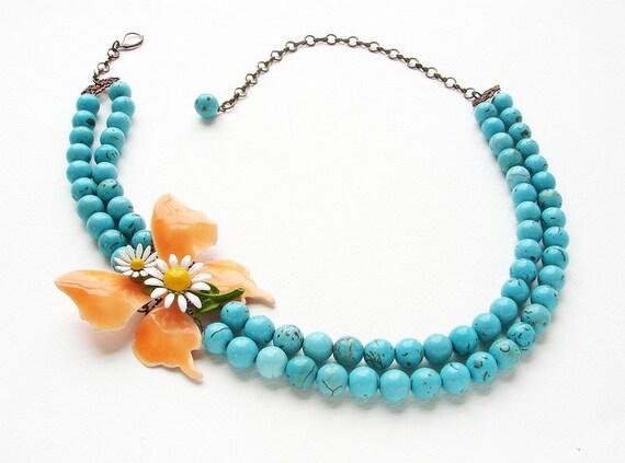 Peach Butterfly Statement jewelry - vintage daisy butterfly brooch necklace, OOAK orange peach butterfly aqua turquoise