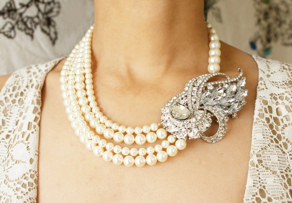 Bridal Statement Necklace Rhinestone Pearl Wedding Necklace