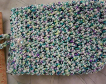Cell phone cozy - Crocheted in white/navy/aqua/purple blend - will hold the LG blackberry - ipod cozy - mg3 cozy or Cell phone purse - etc
