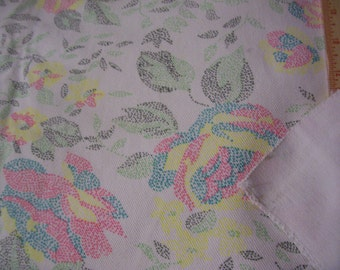 """Vintage White cotton Twill fabric with multicolor floral dotted print 50"""" x 50"""""""