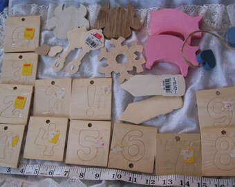 37 Mainly UNFinished Wood Craft Items - includes Wood number cutouts