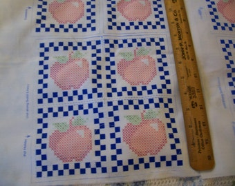 Vintage Apple Squares - for making matching Potholders and coasters - cross stitching
