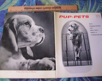 Puppy Picture's of various Breeds called PUP -PETS - Vintage 1966 54 page Booklet in Black and white - Edwin Stein's Gallery
