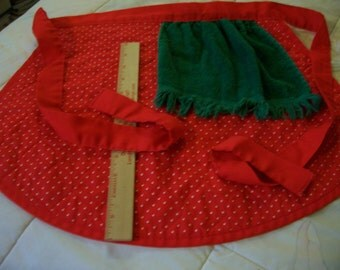Vintage Ladies Half Apron - Red w/White swiss polka dot pattern and green towel
