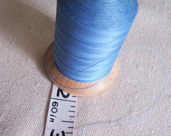 Vintage Wooden Spool of YLI 100 percent glazed Cotton Quilting Thread in Light blue