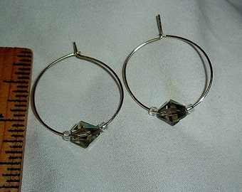 Handmade Goldtone Hoop earrings with Irredescent beads