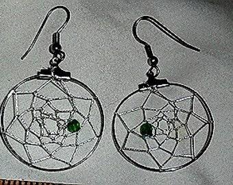 Dangling Dream Catcher EArrings - Silver metallic web - tiny green/blue faceted bead