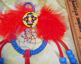 Dreamcatcher - Red and BLue with beaded concho