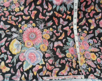 """Vintage Colorful Floral & BUtterflies against black background Cranston fabric 50"""" (in 2 sections) x 45"""" width"""
